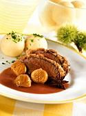 Saddle of young venison with chestnut crust & potato dumplings