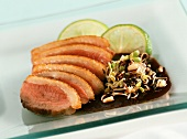 Wild duck with sprouts in soy sauce
