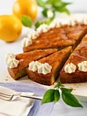 Blood orange cake with cream rosettes