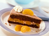 Piece of chocolate cream gateau with mandarin oranges