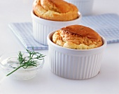 Fish and shrimp soufflés with dill sauce
