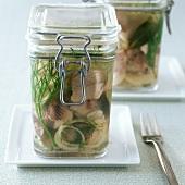 Matje herring and dill snacks in preserving jar