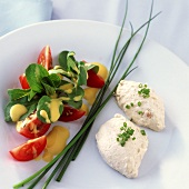 Mackerel mousse with corn salad, tomatoes and chives