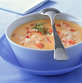 Cold creamed crab soup with rice