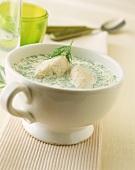Dill soup with trout dumplings