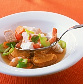 Fish and seafood ragout with vegetables