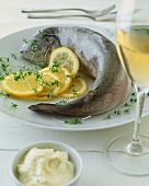 Trout cooked blue with horseradish cream, cress & lemon