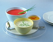 Three different sauces for fish dishes