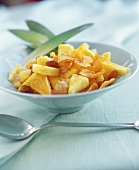 Pineapple salad with cornflakes and raisins