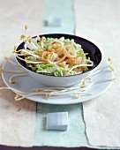 Asian salad with Chinese salad, squid and sprouts