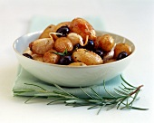 Potatoes with olives, garlic and rosemary