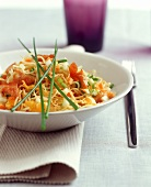 Fried noodles with vegetables and turkey breast