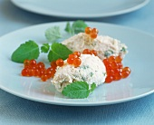 Trout mousse with keta caviare and lemon balm
