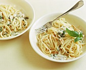 Linguine with catfish and basil