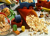 Popcorn with coloured sugar sprinkles for children