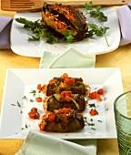 Stuffed aubergines and aubergine rolls
