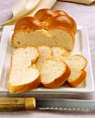 Yeast plait, a piece cut