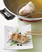 Fondue with Vietnamese rice paper rolls