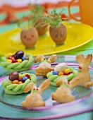 Sweet nests, cress growing in eggs & Easter Bunnies for kids