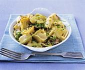 Tortellini gratin with ceps