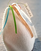 Egg cosies with name cards