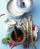 Still life with curry paste, Thai seasonings and rice