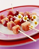 Skewered red fruit
