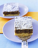 Piece of apple and poppy seed cake with icing sugar