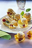 Cream puff with fruit cream