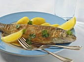 Trout, Miller's wife style with boiled potatoes