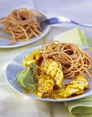 Monkfish fillet with avocado whip and wholemeal spaghetti