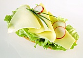Open sandwich with cheese and lettuce leaf