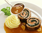 Veal roulade with spinach stuffing and mushroom sauce