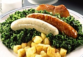 Kale with groats sausage (Pinkel)