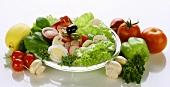 Mixed salad and salad ingredients
