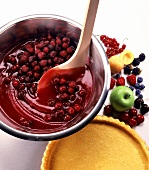 Making a flan with berries