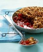 Rhubarb and raspberry crumble