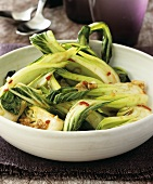 Pak choi cooked in the wok