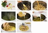 Making laksa (shrimp soup with noodles)