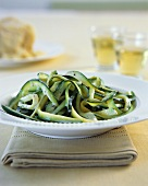 Strips of courgette with cream sauce