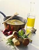 Still life with polenta, cep, onion, garlic and oil