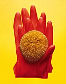 Rubber glove with pan scourer