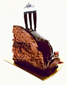 A piece of chocolate cake with fork