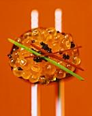 Gunkan-sushi with keta caviare