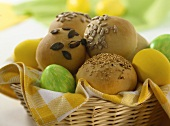 Basket of Easter rolls and Easter eggs