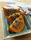 Pumpkin boats with mince filling