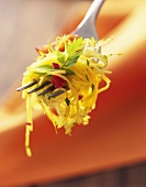 Spaghetti squash salad on fork