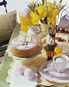 Easter table with nut cake and coffee