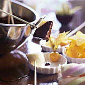 Chocolate fondue with tropical fruit
