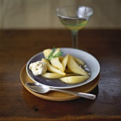 Pear compote with almond cream